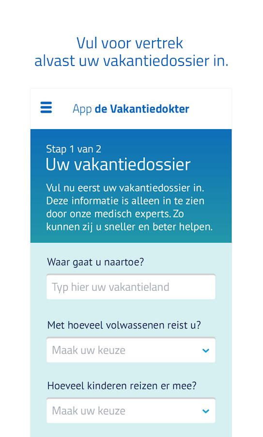 App de Vakantiedokter- screenshot