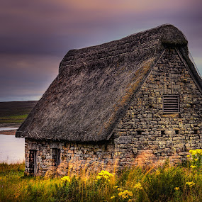 Cruck Barn by Darrell Evans - Buildings & Architecture Public & Historical ( roof, doors, clouds, water, building, old, sky, barn, grass, flora, thatch, green, outdoor, stone, landscape, grimwith high laithe )