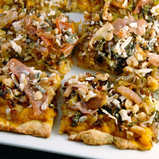 Savory Butternut Squash Flatbread with Shredded Brussels Sprouts, Caramelized Shallots and Prosciutto
