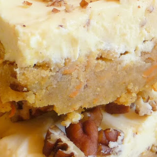 CARROT CAKE BLONDIES WITH CREAM CHEESE FROSTING.