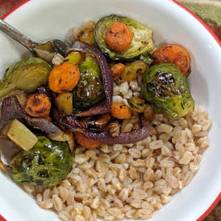 Oven Roasted Brussels Sprouts and Farro Bowls Recipe
