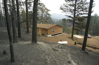 Photo: Hayman Fire South. 507 County Road 78.  Pagent Home survives wildfire.  Trees were thinned around home.