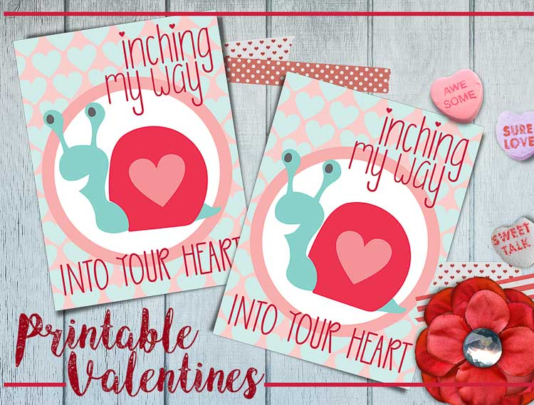 valentine free printables from heatherednest.com a cute robot, and a sweet snail adorable free valentines for kids!