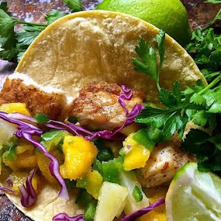 Fish Tacos with Mango Salsa.