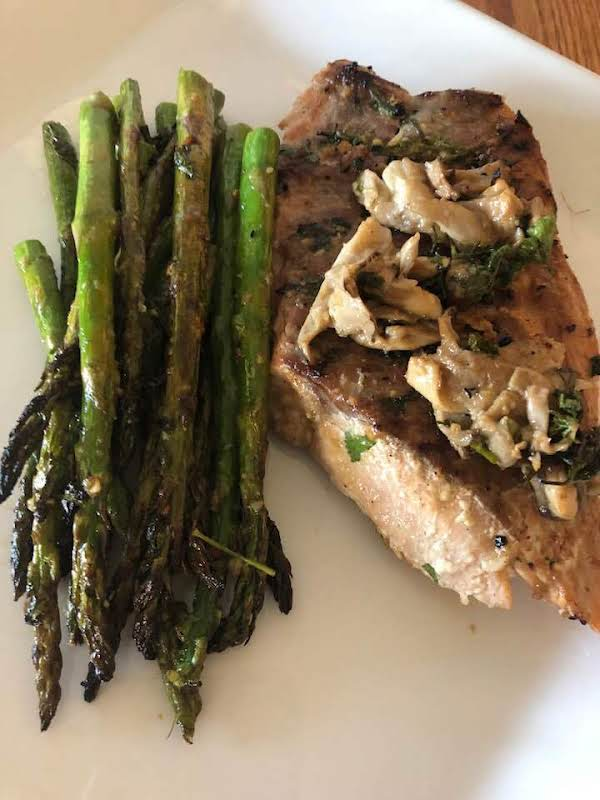 Herb/miso Salmon With Oyster Mushrooms & Asparagus