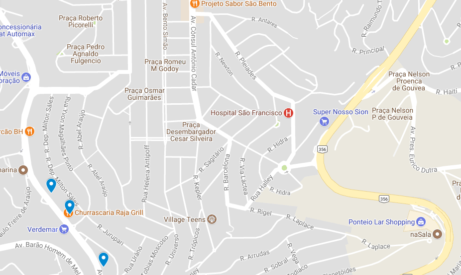 Mapa 7: Localização das três ofertas no bairro Santa Lúcia.