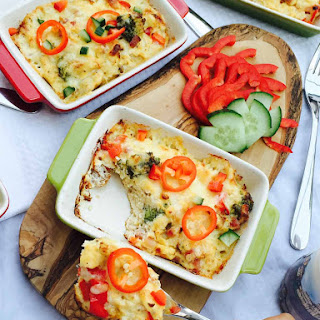 Baked Broccoli, Cheese And Pepper Omelette