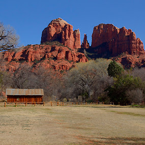 Red Rock Crossing by Al Judge - Landscapes Mountains & Hills ( park, digital image, arizona, cathedral rock, red rocks, sedona )