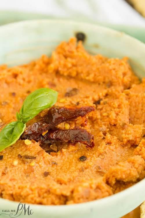 """Sun Dried Tomato Hummus Recipe""""Sun Dried Tomato Hummus Recipe is creamy and..."""