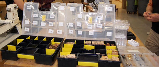 Photo: Blanks are sorted by type of wood and ready to go!
