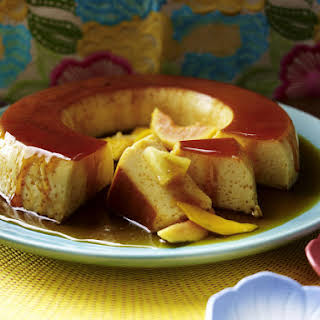 Flan with Tropical Fruit.