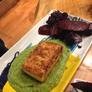 Panko Crusted Tofu in a Pea-Mint Puree .