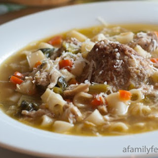 Italian Chicken Soup with Meatballs and Escarole.
