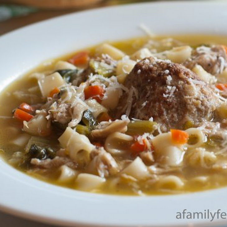 Italian Chicken Soup with Meatballs and Escarole