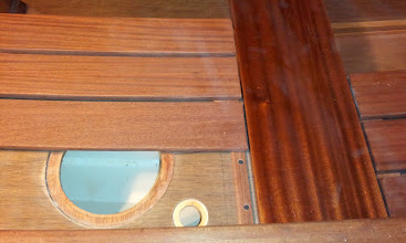 Photo: The bench slid further out to reveal the floatation tank inspection port and small drain.