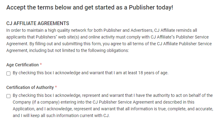 Cj affiliate terms and conditions