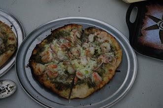 Photo: Shrimp and pesto pizza.
