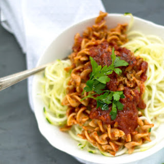 Spiralized Zucchini and Pasta with Red Sauce.