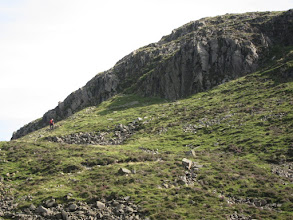 Photo: The other walkers continue up the ridge to climb Great Gable, the sixth highest mountain in England.