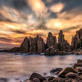 The Pinnacles by Michael Lucchese - Landscapes Cloud Formations ( clouds, water, phillip island, sky, color, outdoors, australia, rock, victoria, cape woolamai, landscape, pinnacles )