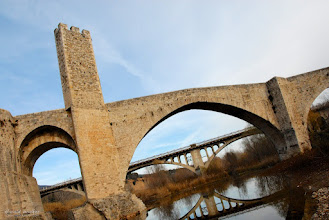 Photo: For +#BridgesAroundTheWorld and +BridgesOverTuesday I have an old and new bridge in one shot.  The one in the front is the 12th-century Romanesque bridge 'Puente Viejo de Besalú' over the Fluvià river in Spain.  #bridgesovertuesday   #bridgesaroundtheworld