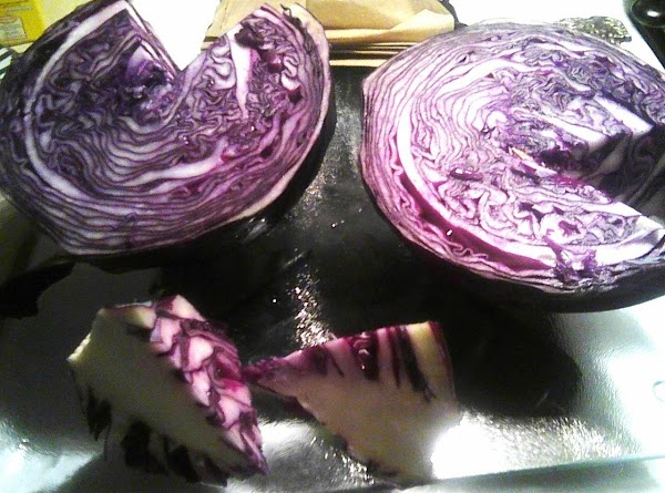 Wash and cut cabbage in half.  Remove the core of each half by...