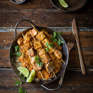 Indian Salmon Curry Skewers.
