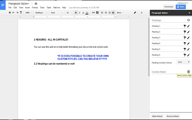 Paragraph Styles Google Docs Add On