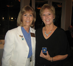 Photo: Assistant District Governor Karen Weiss presenting the PAUL HARRIS FELLOW Pin to Ruth Swanto in recognition of her third award! - June 8, 2012