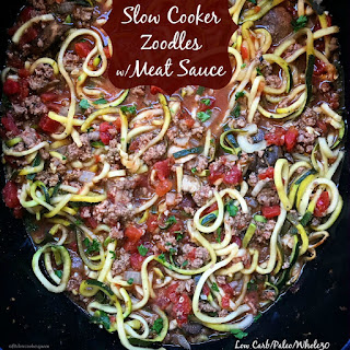 Slow Cooker Zoodles with Meat Sauce (Low-Carb, Paleo, Whole30).