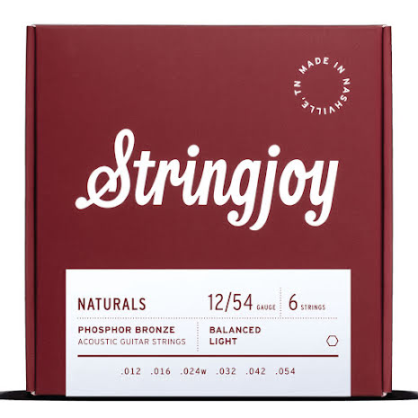 Stringjoy Natural Phosphor Bronze Light (12-54) Acoustic Guitar Strings