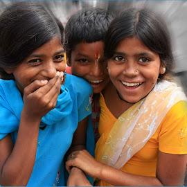 Happy  by Visakha Marla - Digital Art People ( girls, blue, india, yellow, boy, people,  )