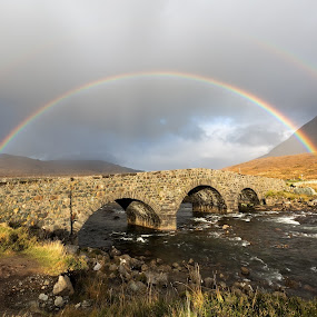 Underneath the arches by Neil O'Connell - Landscapes Weather ( scotland, skye, silgachan, bridge, rainbow, river )
