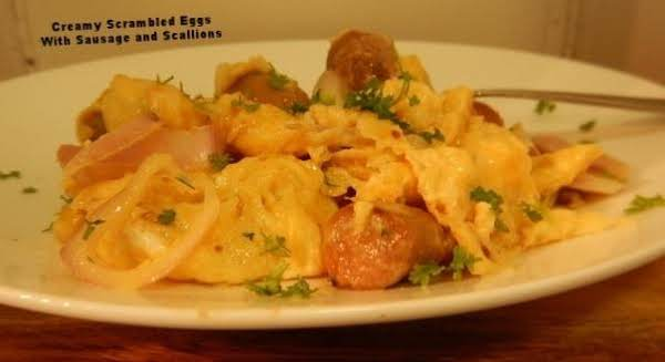 Creamy Scrambled Eggs With Sausage And Scallions Recipe