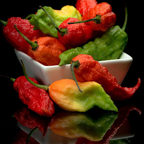 Ghost Peppers by Hiram Christian - Food & Drink Fruits & Vegetables ( low key, food, bhut jolokia, vegetables, spicy, hot, pepper, ghost pepper )