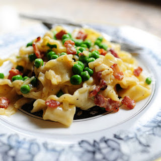 Pasta Carbonara With Bacon And Peas Recipes.
