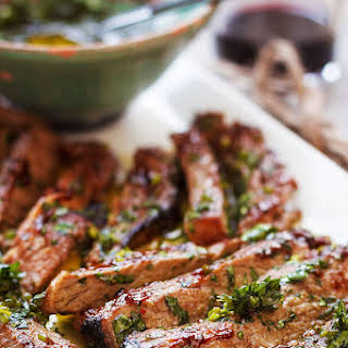 Spicy Grilled Steak With Parsley Sauce.