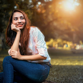 Smile by MSR Photography - People Portraits of Women ( colorful, grass, colors, green, art, beautiful, beauty, people, portrait, photography, girl, autumn, woman, outdoors, summer, sunrise, nikon )