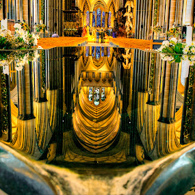 Reflections in the font by Zoot The-Tog - Buildings & Architecture Places of Worship ( water, reflection, arch, church, font, art, flowers )