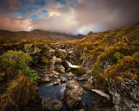 Photo: Cullins, Isle of Skye, Scotland  Just next to the walking path to the Cullin Mountains, this little gorge accompanies the hiker. I didn't walked much further than this point and enjoyed the beautiful view with the mountains in the background.  Canon EOS 5D, EF 17-40L @ 17mm, f/18, 4 seconds, ISO100, Lee ND Grad Filter, Polarizer, Tripod