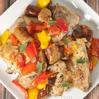 Chicken With Sausage And Peppers (Pollo alla Scarpariello).