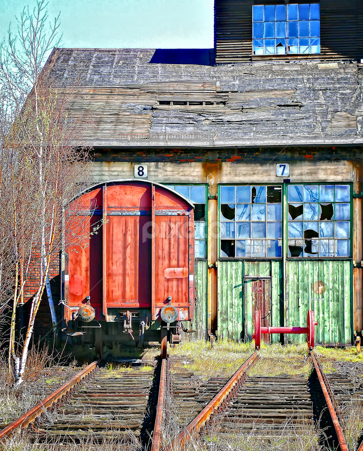 Old Station by Dietmar Pohlmann - Products & Objects Industrial Objects ( old, colorful, train )