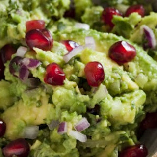 Minted Guacamole with Pomegranate Seeds.