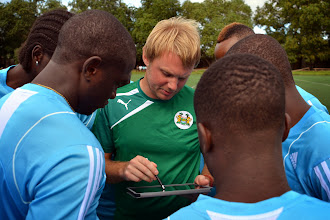 Photo: Asssitant Coach Tom Harris reinforces tactics.  [Leone Stars Training Camp, in advance of Equatorial Guinea match, Sept 2013 (Pic: Darren McKinstry)]