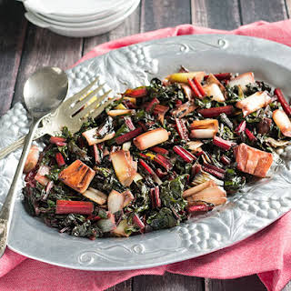 Charred Leeks and Red Swiss Chard Side Dish.