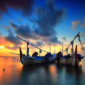 The Twins by Calvin Go - Transportation Boats ( twin, bali, tuban, indonesia, boats, kelan, sunrise )