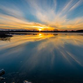 Mid winter blues by Matt Hollamon - Landscapes Cloud Formations ( afterglow, clouds, water, reflection, winter, sunset, d500, yankee hill, lake, nikon, tokina, nebraska, rural,  )