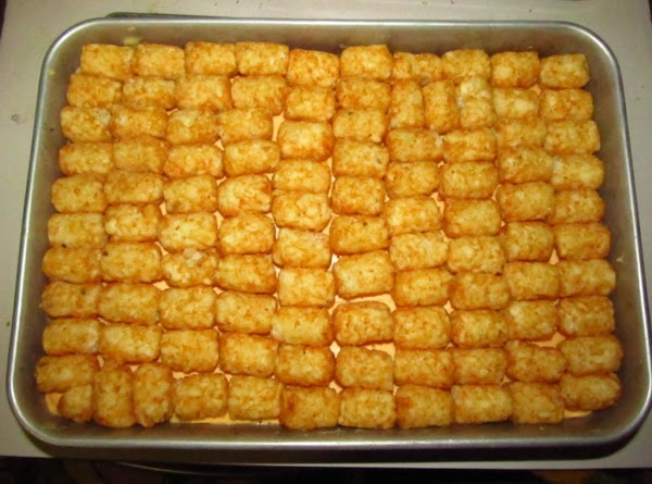 all tatertots lined up and ready for the oven!