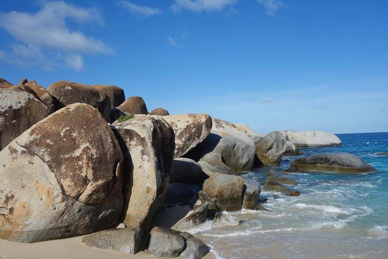 Rock outcroppings at the edge of Devil's Bay on Virgin Gorda in the British Virgin Islands.