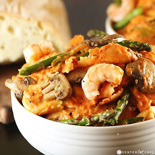 Tortellini with Shrimp and Mushrooms.